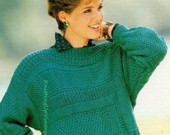 Knitting Pattern PDF Womens Chunky Patchwork Slash Neck Jumper Sweater