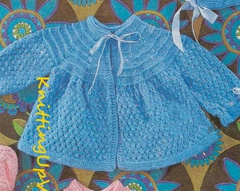 Baby Knitting Pattern pdf 3 Matinee Coats