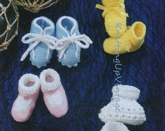 Baby Knitting Pattern pdf Vintage Bootees 1-6 mths  DK or 4 ply