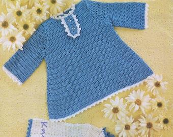 Baby Crochet Pattern pdf 2 Dresses 4 ply