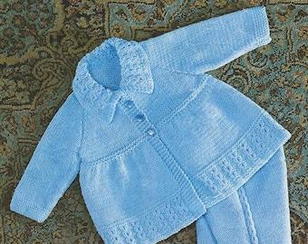 "Baby Knitting Pattern pdf 19-21"" Pram Set. Matinee Coat, Leggings, Bonnet, Mittens, Double Knit"