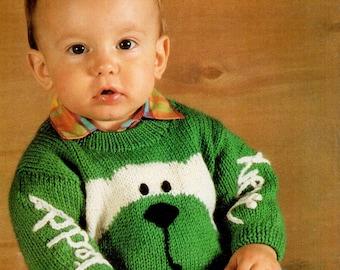 Baby Knitting Pattern pdf Teddy Bear Sweater Jumper