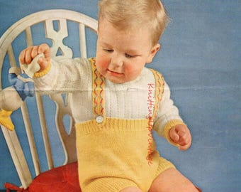 Baby Knitting Pattern pdf Vintage Baby Romper Suit Shorts and Jumper