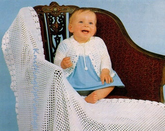 Baby Crochet Pattern PDF Vintage Shawl and Matinee Coat 4 ply