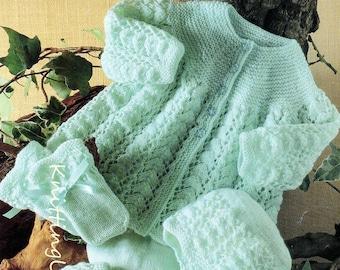 Baby Knitting Pattern 4 ply Pram Set Matinee Coat Leggings Bonnet Hat Mittens pdf