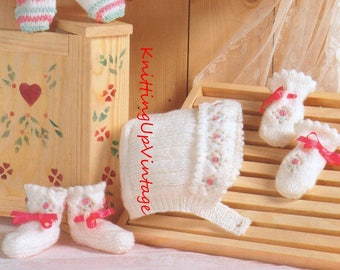 Baby Knitting Pattern pdf Vintage Bootees Mittens Hats 0-12 mths  Double Knit