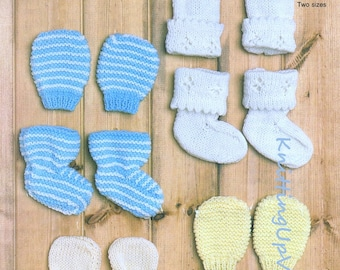 Baby Knitting Pattern pdf Vintage Bootees Mittens  0-12 mths  Double Knit