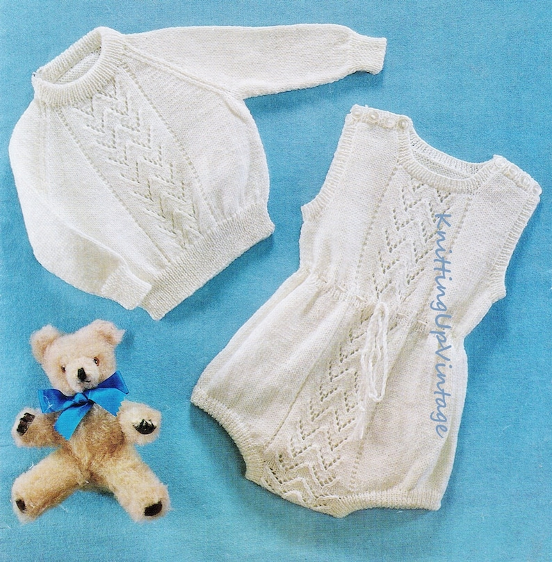 318172cf3 Baby Knitting Pattern pdf Baby Romper Suit and Jumper 18 and   Etsy