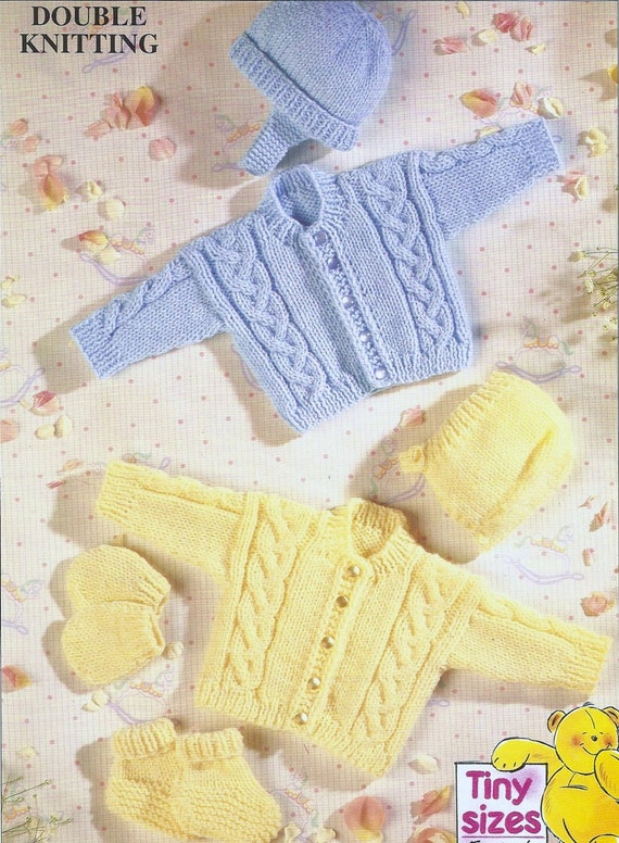 PRETTY BORDER BABY/'S CARDIGAN BONNET /& BOOTEES PREM KNITTING PATTERN 18/""
