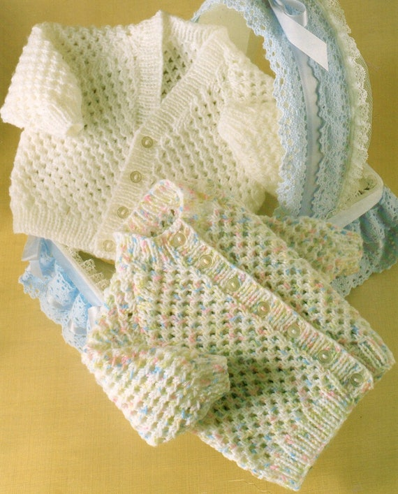 Baby Knitting Pattern Pdf Double Knit Lacy Cardigans Etsy