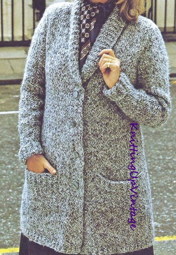 Knitting Pattern PDF Womens Chunky Long Cardigan Coat ...