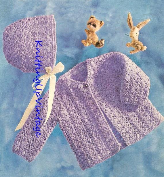 Baby Crochet Pattern Matinee Coat And Bonnet Double Knit Pdf Etsy