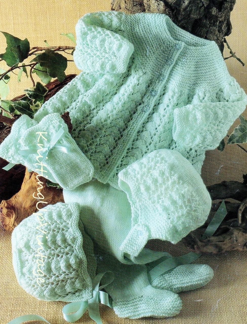 Baby Knitting Pattern 4 ply Pram Set Matinee Coat Leggings ...