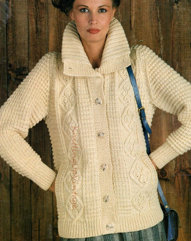 ef57fc5e64429c Aran Knitting Pattern PDF Womens Ladies Jacket 34 38