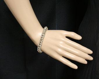 Sterling silver box chain chainmaille bracelet.