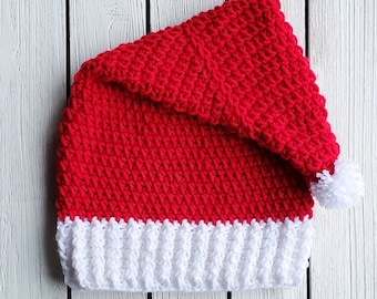 dee77110aae5a Unisex Crocheted Children s Red Santa Hat Beanie