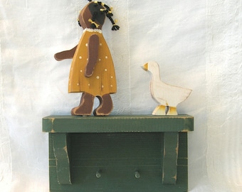 SALE Vintage Girl with Goose - Shelf with Pegs - hand painted wood