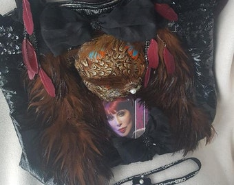 REIMAGINED GUESS CHER Tribute Quail Feather Handbag