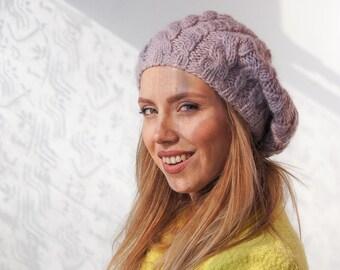Beret knit hat knit hat for woman knit chunky slouchy hat knit slouchy beanie alpaca sheep wool wool big yarn