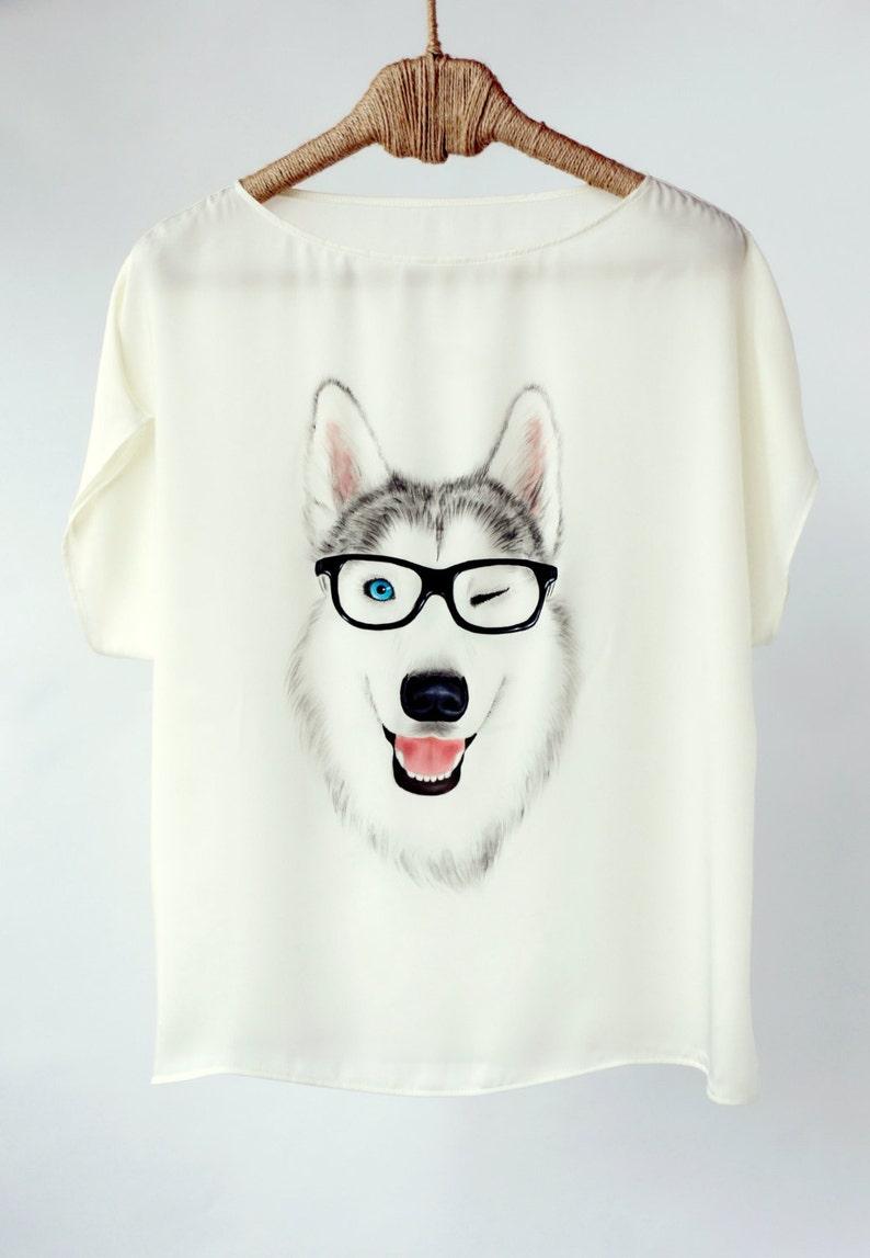 Hand Painted Art Clothing Handpainted Animal Dog Shirt Tshirt Painted Silk Designer Shirts Loose Blouse Clothing Top Tee T Shirt Husky