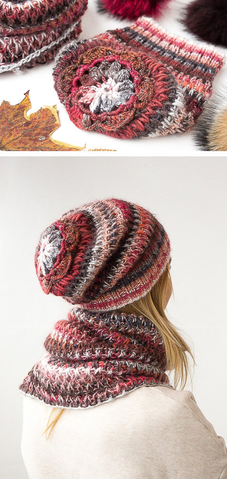 knit slouchy beanie knitted hats for women and knitted scarf circle scarf knit chunky cowl handmade from Italian alpaca and sheep wool