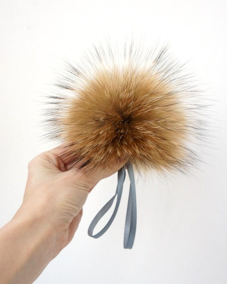 c7f62e8675f Real Fur Pom Pom Hat Raccoon Pompom Fox Fur Pompom Large Pom