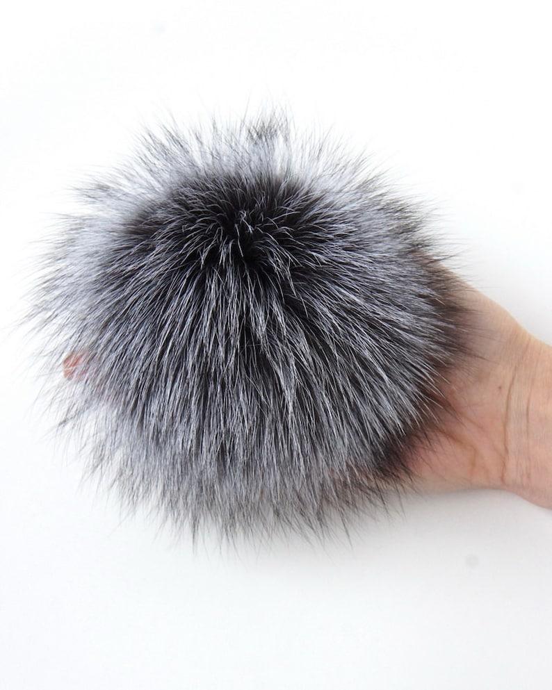 d8da90877cb Real Fur Pom Pom Hat Silver Fox Pompom Fox Fur Pompom Large