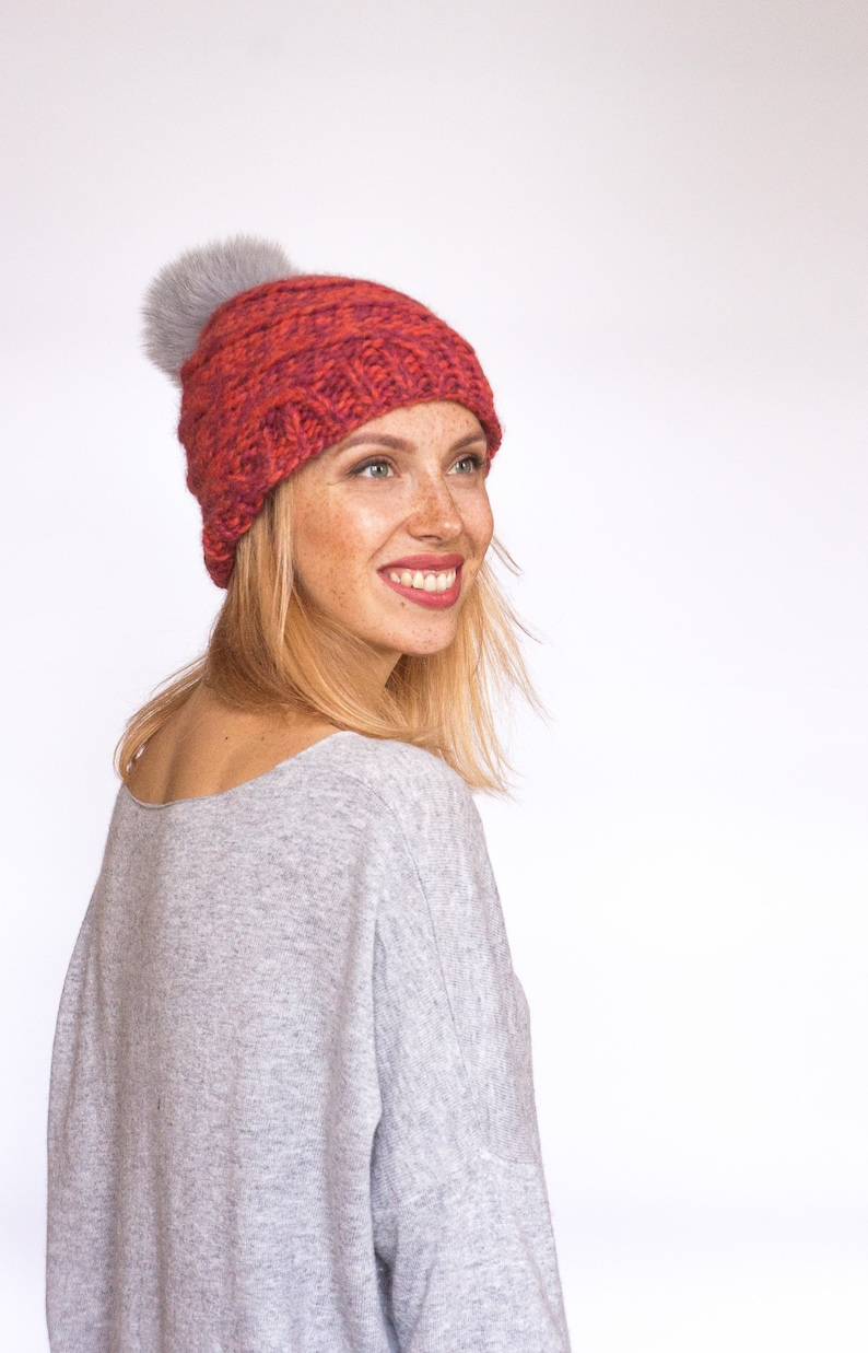 2421ee64b9e Beanie knit hat for woman knit chunky slouchy hat knit slouchy