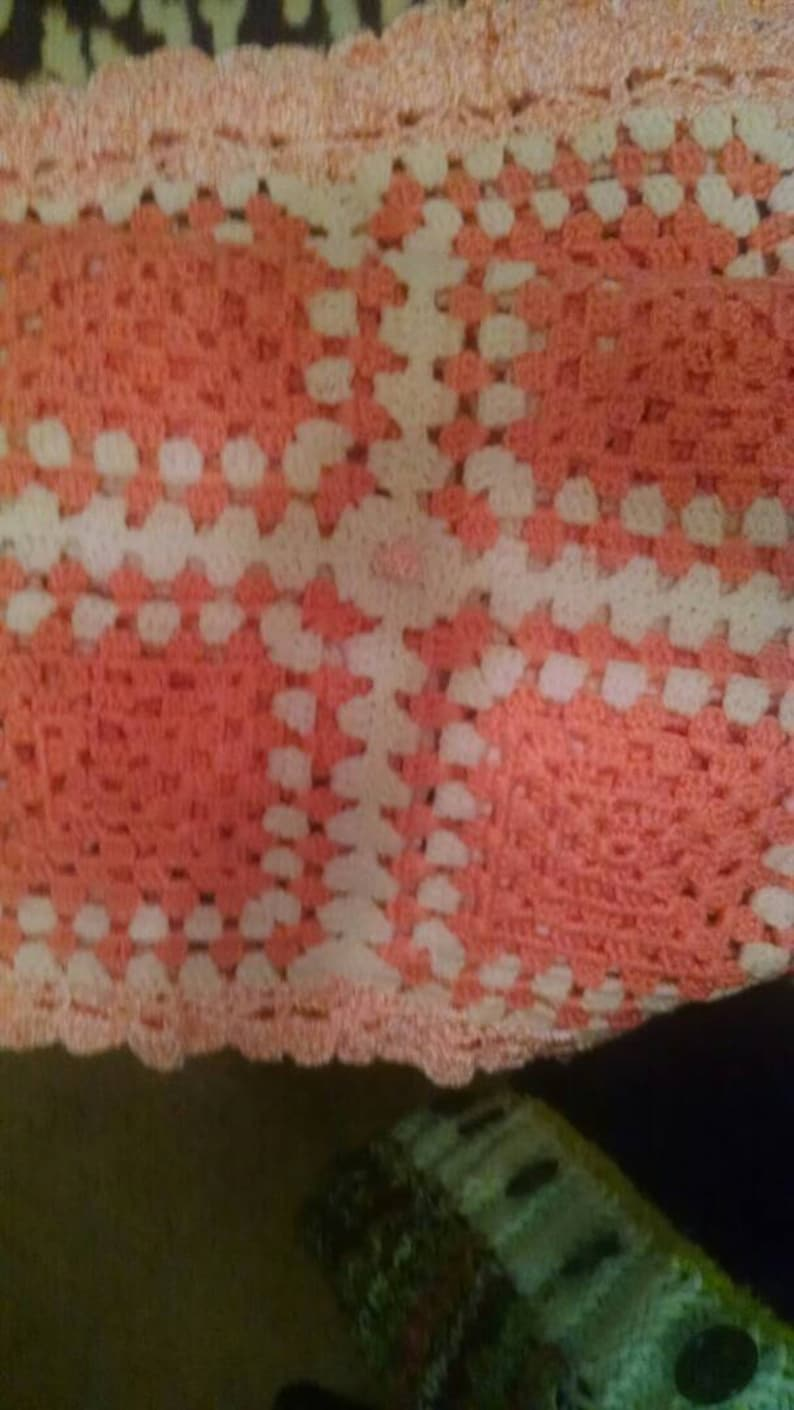 baby peach and white Afghan Colorful One-of-A-Kind child