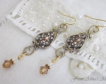 Gold Rhinestone Earrings, Downton Abbey Earrings, Victorian Style Drops, Long Rhinestone Earrings, Rhinestone w Crystal Drops, Crystal Drops