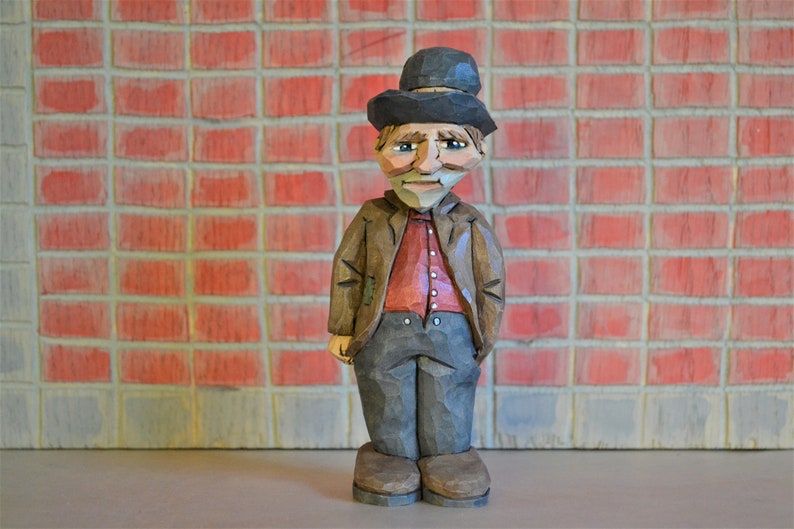 Hobo With Red Shirt woodcarving Hand Carved, Hand Painted by MADellinger  Wood Carving BH # 121