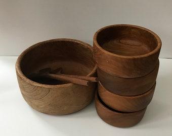 Mid Century Modern Dolphin Teakwood Teak Wood Tri Divided Bowl Dish Vintage