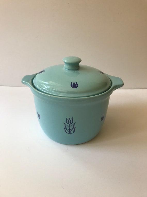 Cronin Pottery Bake Oven USA Pink Blue Tulip Handled Soup Crock Bowl w// Lid