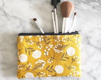 Mustard Yellow Dandelion Floral Standard Zipper Pouch- Zipper bag- Make up  Bag- Zipper Pouch- Pencil Case- Floral pencil case 9abcaf96e6c0e