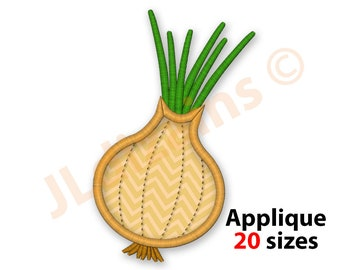 Green Onion Chef Vegetable Scallion Embroidered Iron On Applique Patch