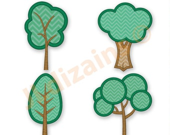 Forest Applique Machine Embroidery Digital Design Trees Nature Outdoors Forrest