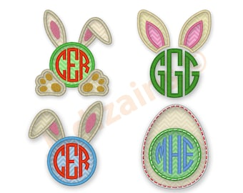 Bunnies and Bows Saying Easter Machine Embroidery Design Rabbit ears bunny ears.