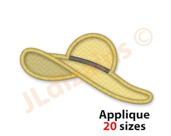 Sun Hat Embroidery Applique Design. Beach hat embroidery. Woman hat applique.  Sun hat applique design. Machine embroidery applique design. 494267dbf9fa
