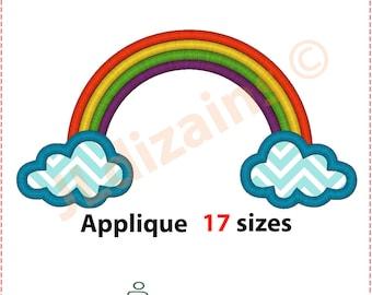 Rainbow Applique Design. Rainbow embroidery design. Embroidery applique rainbow. Cloud applique. Cloud embroidery. Machine embroidery design