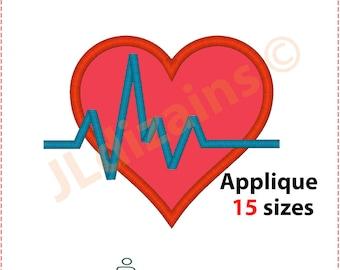 Heartbeat and Heart Applique Design. Heartbeat heart embroidery design. Embroidery heartbeat. Heartbeat applique. Machine embroidery design
