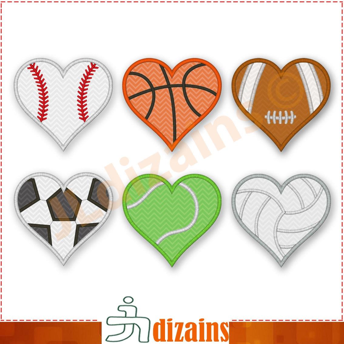 Set di design applique per palle di cuore set di etsy - Applique di design ...