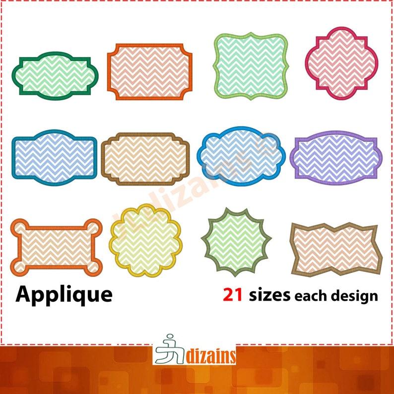 Frame Applique Design Set. Frame embroidery design set. image 0