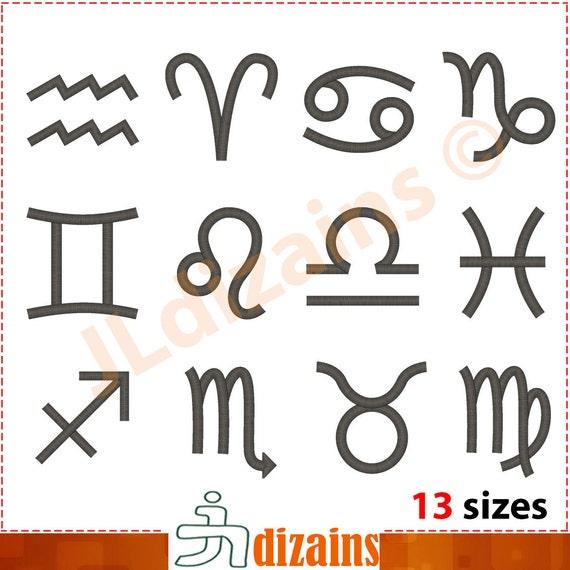 Zodiac Signs Embroidery Design Set Horoscope Symbols Etsy