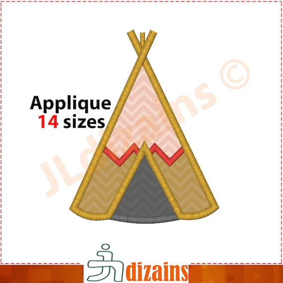 design applique Teepee. la conception de broderie de la machine - TELECHARGER INSTANT - 14 tailles. Tipi conception tente applique