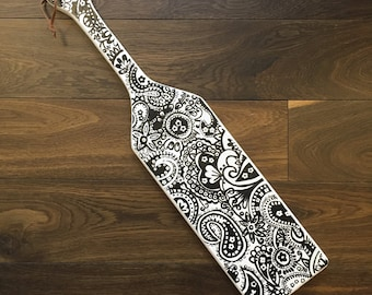 Midnight Paisley Inspired Hand-painted Paddle