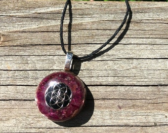 Ruby & Spinel Pendant - Orgone - Orgonite® Seed of Life  Root Chakra with Garnet, Elite Shungite, Copper, Iron