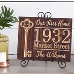 Our First Home Sign, Personalized New Home Housewarming Gift, First House Gift, Real Estate Agent Closing Gift, Wood Key Sign, 9x11
