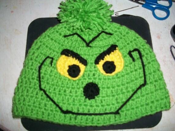 3e799dde90d Crochet Grinch beanie Teen-adult size