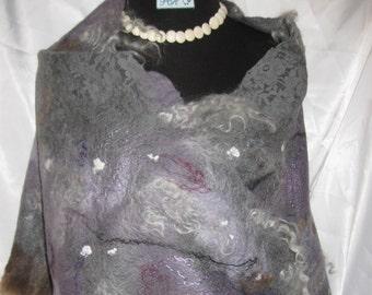 Handmade Felted Scarf Felted Scarf Felted Stole  Handmade Scarf Wool Scarf Scarf of Wool Natural Wool Scarf Scarf,Art Scarf,Women's Fashion