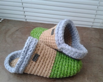 92bbf048dbf91 Knitted Chuni Slippers 002 Dark Gray Wool Blend handmade home | Etsy